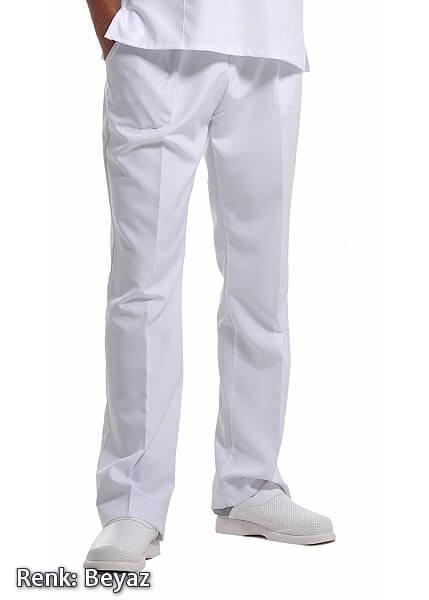 Erkek Beyaz Alpaka Kumaş Doktor ve Hemşire Pantolonu