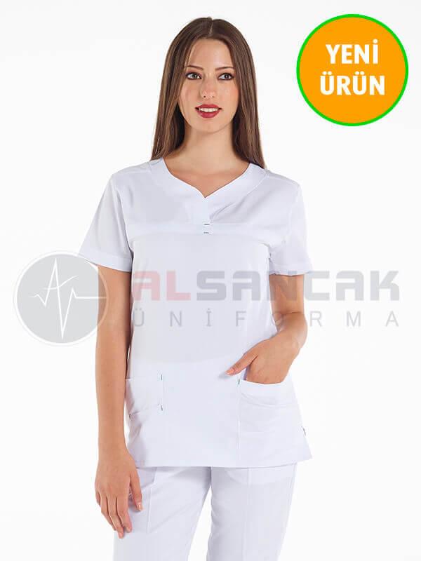 Petit Modeli Beyaz Alpaka Hemşire Forması Takımı