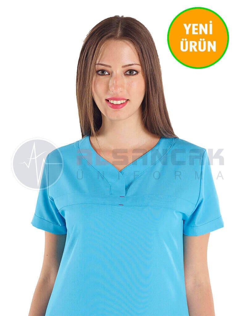 Petit Modeli Turkuaz Mavi Alpaka Hemşire Forması Takımı