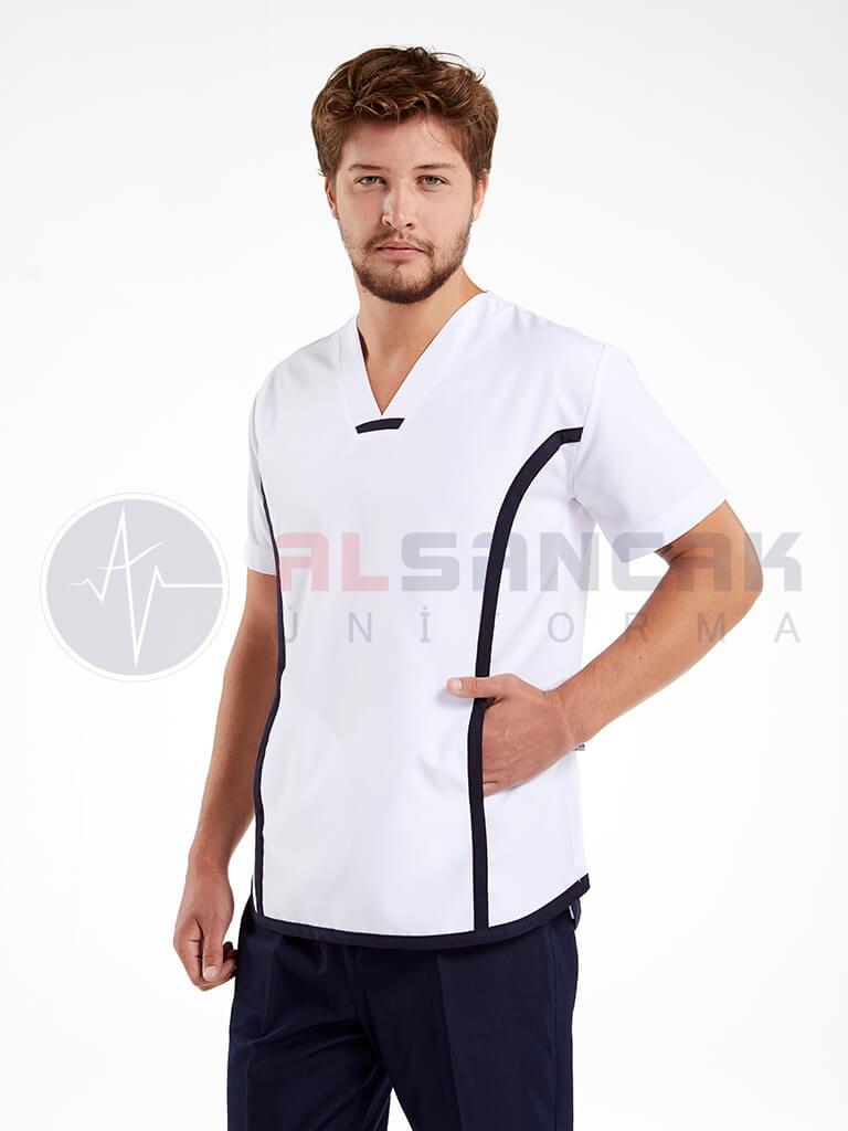 Sports Modeli Erkek Doktor ve Hemşire Forması Takımı - Beyaz