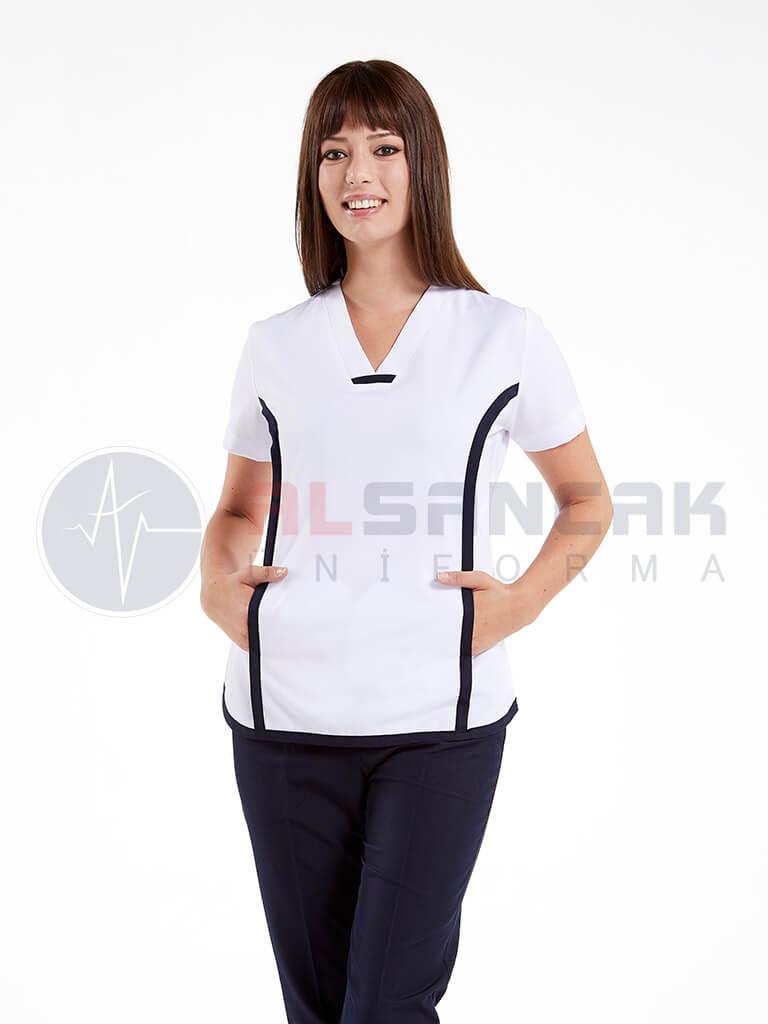 Sports Modeli Kadın Doktor ve Hemşire Forması Takımı - Beyaz