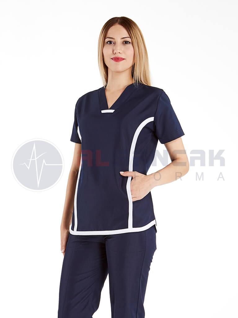 Lacivert Sports Modeli Kadın Doktor ve Hemşire Forması Takımı