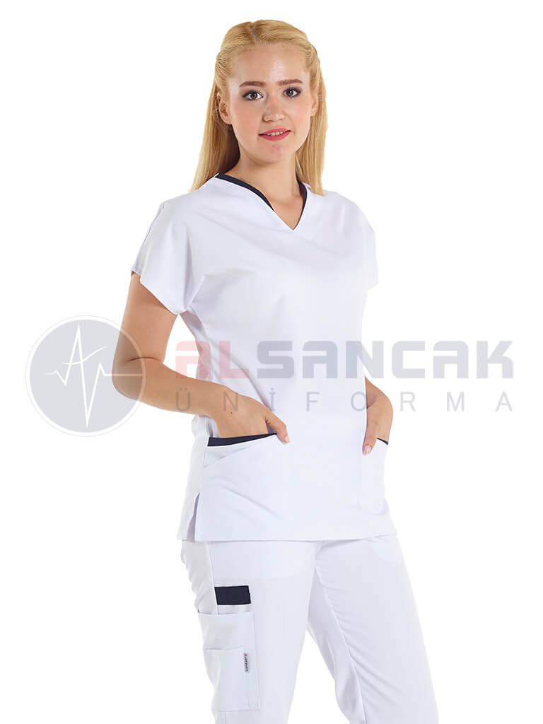 Twin Modeli Beyaz - Lacivert Biyeli Hemşire Forması Takımı (alpaka kumaş)