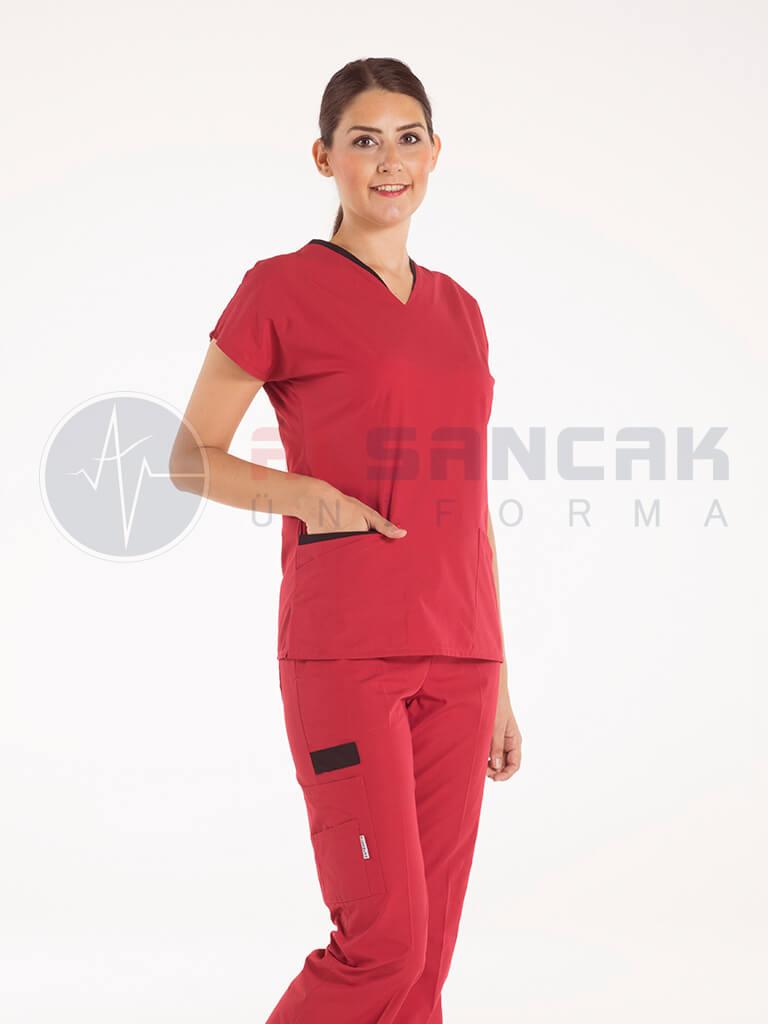 Twin Modeli Kırmızı - Siyah Biyeli Hemşire Forması Takımı (alpaka kumaş)