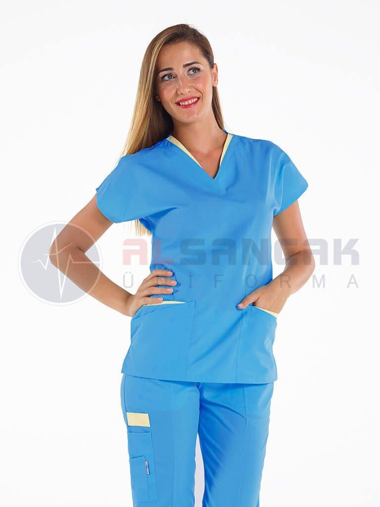 Kadın Kamu Hastaneleri Hemşire Forması - Twin Model Turkuaz Mavi