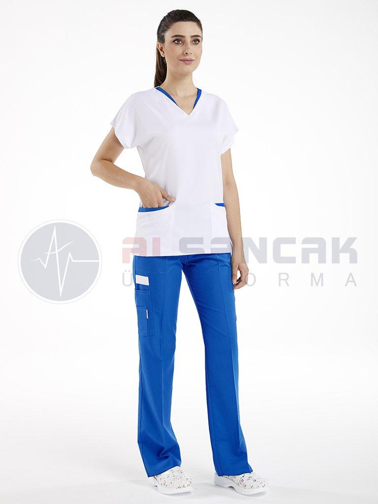 Twin Modeli Beyaz - Sax Mavi Biyeli Hemşire Forması Takımı (alpaka kumaş)