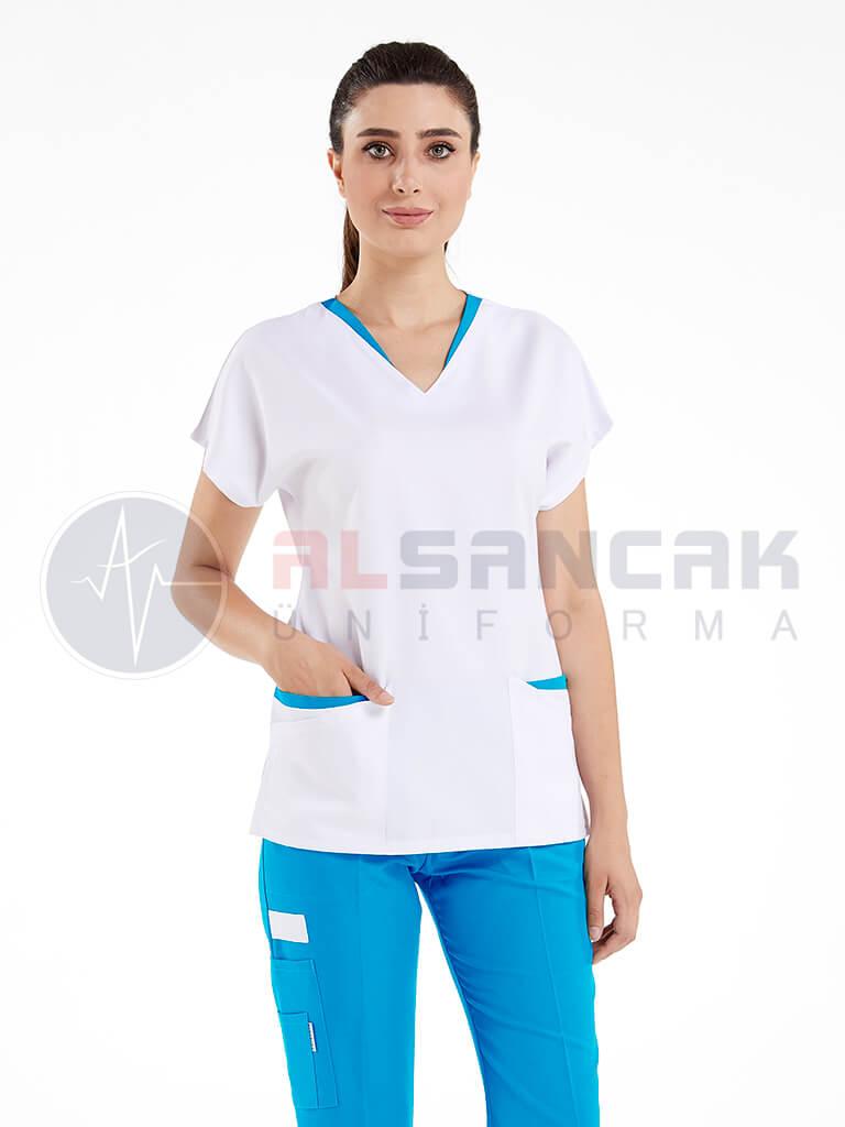 Kamu Sorumlu Hemşire Forması - Beyaz Üzeri Turkuaz Mavi Biyeli