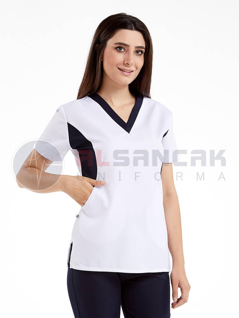 Beyaz Viva Modeli Kadın Doktor ve Hemşire Forması Takımı