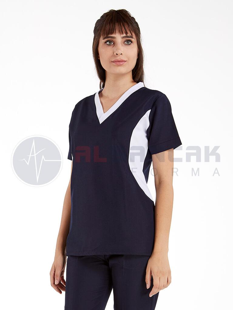 Lacivert Viva Modeli Kadın Doktor ve Hemşire Forması Takımı