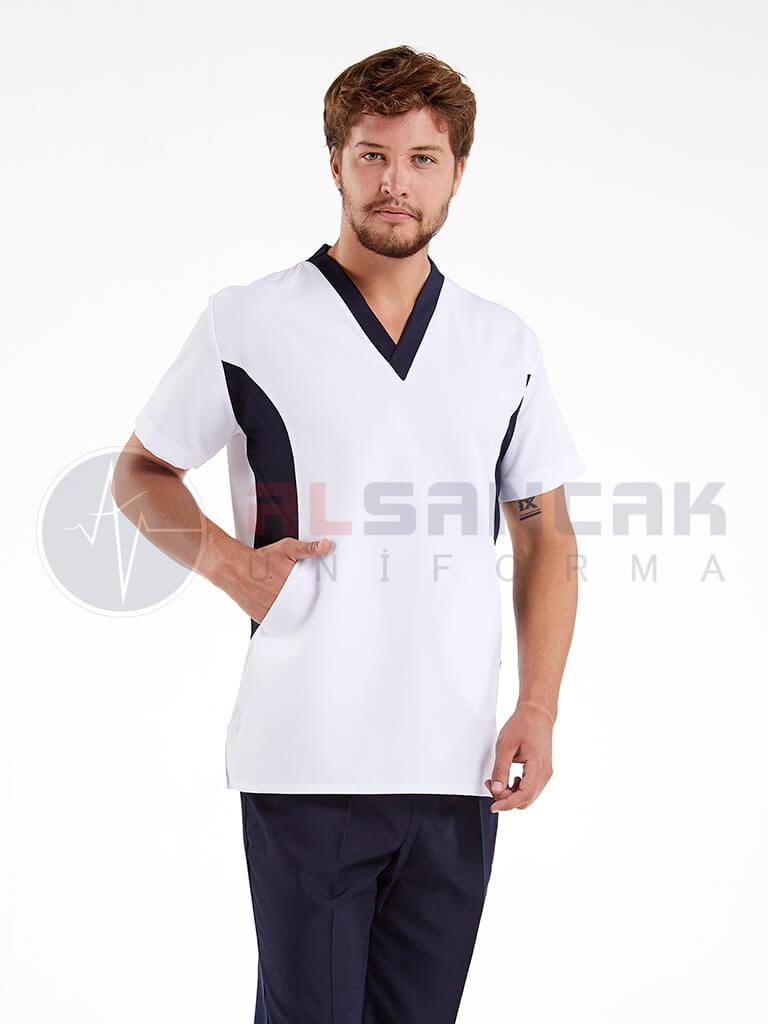 Viva Modeli Erkek Doktor ve Hemşire Forması Takımı - Beyaz