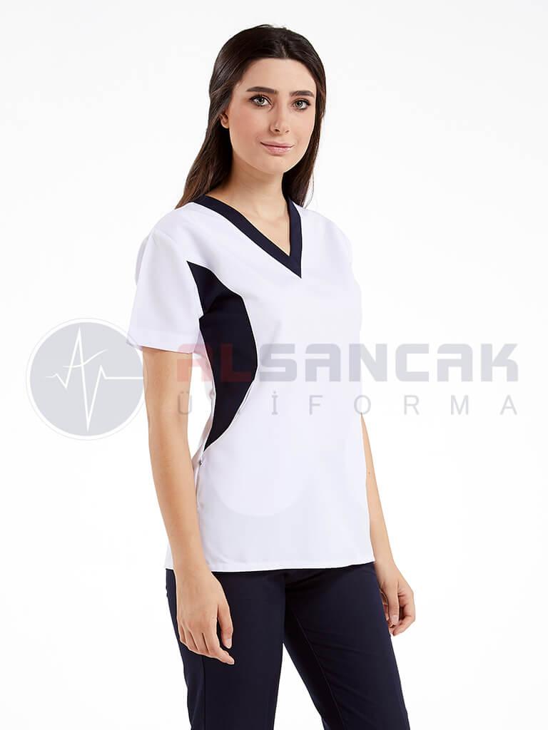Viva Modeli Kadın Doktor ve Hemşire Forması Takımı - Beyaz